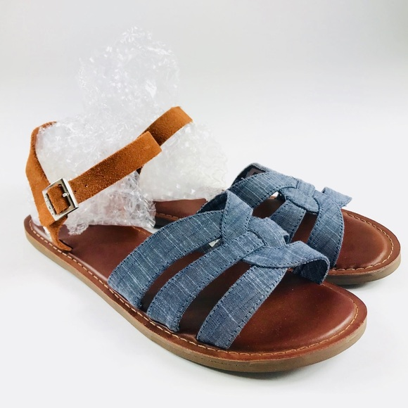 fa76c75c1bc Toms Zoe Chambray Brown Suede Sandals 8.5
